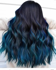 Getting balayage hair is a great investment for your stylish look. See how variously you can freshen your base with a new shade without spending a fortune. Cool Tone Hair Colors, Hair Dye Colors, Cool Hair Color, Raven Hair Color, Amazing Hair Color, Creative Hair Color, Beautiful Hair Color, Blue Black Hair Color, Hair Color Ideas For Black Hair