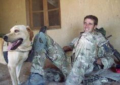 Tam is a bomb sniffer in Afghanistan. When his handler, Lance CPL Wilkinson was severely injured in a roadside bomb attack, Tam stayed with him and barked furiously until medics arrived.