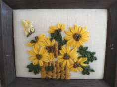 70s Framed Needlepoint Country Sunflower by LookingOutMyBackDoor, $10.00