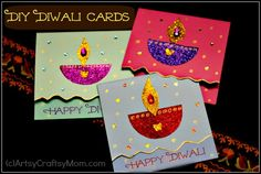 Looking for DIY Diwali Card idea for kids ? Then you are at the right place. See - Artsy Craftsy Mom - Top Indian hobby, art and craft blog for kids