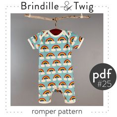 Baby romper pattern pdf instant download sizes 0-3M to 2-3T