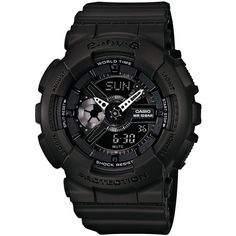 Baby-g Women's Analog-Digital Black Resin Strap Watch 46x43mm... (165 CAD) ❤ liked on Polyvore featuring jewelry, watches, no color, black wrist watch, black jewelry, analog digital watches, sport watch and analog and digital watches
