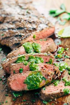 Grilled Flat Iron Steak with Chimichurri Sauce - This recipe is the perfect summer meal. Spiced rubbed steak topped with a fresh, tangy herb sauce. | jessicagavin.com