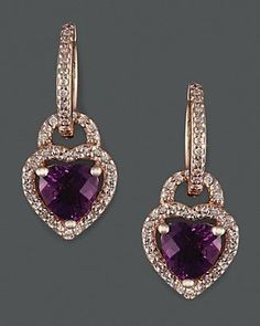 Diamond and Amethyst earrings in rose gold. The hearts tie in beautifully with Valentine's Day, February but are appropriate every day of the year! Purple Jewelry, Amethyst Jewelry, Amethyst Earrings, Rose Gold Jewelry, Heart Jewelry, Women's Earrings, Diamond Earrings, Garnet Necklace, Heart Earrings