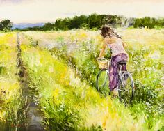 'Cycling in the Summer' by Gleb Goloubetski Oil on Canvas 80cm x 100cm