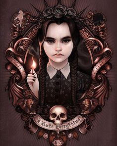 It's Wednesday! Here is 'I Hate Everything' by Megan Lara Prints available here: meganlaraart.etsy.com or via profile here: @meganlaraart  #darkart #meganlara #wednesdayaddams #addamsfamily #creepygirls #digitalart #digitalillustration #supportart
