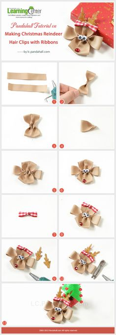 Making-Christmas-Reindeer-Hair-Clips-with-Ribbons