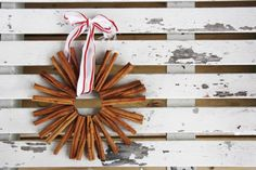Cinnamon Stick Ornament -   Supplies:  Cinnamon sticks (25 sticks for 1 ornament) Mason jar lid (or another circular item) Cardboard Hot glue gun Ribbon  *Trace the circular item - both the inside & outside circles. Use a sturdy piece of cardboard. Cut it out.  *Hot glue the cinnamon sticks around the cardboard circle. Use thicker cinnamon sticks as your base layer.  *After you hot glue your first layer, fill in the gaps with skinnier cinnamon sticks.  *Add a ribbon & you're done!