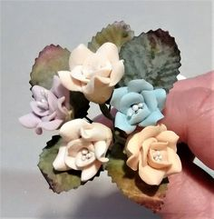 FF-132 $1.25 Mixed Dusty Colored Polymer Clay Roses
