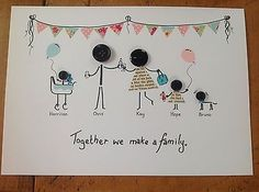 Personalised A4 Button Head Family Picture New Baby Wedding Birthday Anniversary