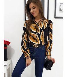 Čierna dámska košeľa LEAVES s dlhým rukávom - Oblečiemsa. Jeans, Ruffle Blouse, Long Sleeve, Sleeves, Tops, Women, Fashion, Moda, Long Dress Patterns