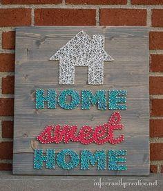 DIY string art home sweet home