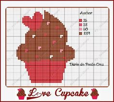 Diário do Ponto Cruz Beading Patterns, Cross Stitch Patterns, Loom Patterns, Cupcake Cross Stitch, Stitch Delight, Needlepoint Stockings, Stitch Cartoon, Pixel Pattern, Charts And Graphs