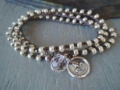 Fleur de lis wax seal crochet wrap bracelet necklace por slashKnots