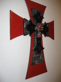Paisley Red & Black Wall Cross by cthorses66 on Etsy, $35.00