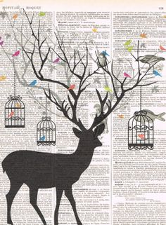 DeerBird.birdcage.collage.Fantasy. Antique by studioflowerpower, $8.50