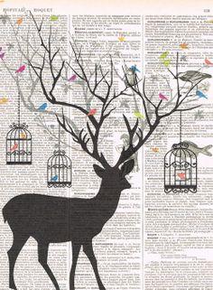 DeerBird.birdcage.collage.Fantasy. Antique by studioflowerpower, $8.50