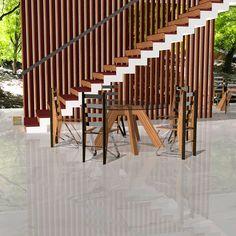 Febrero de 2017. Espacio de escalera ANDÚJAR by Ernesto Oñate. Compuesto por Revestimiento de escalera ANDÚJAR y separador de ambientes ANDÚJAR. EO DESIGN. Combinación de madera maciza de Palo Rojo y Zebrano. La huella de la escalera es de Palo Rojo, mientras la tabica combina Zebrano y acero inoxidable Pulido.