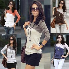 Fashion Women Lady Long Sleeve Crew Neck T-Shirt T Shirt Tops Blouse Tee M L #Unbranded #Blouse #Casual