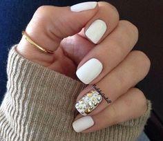 Matte White Nails @Luuux