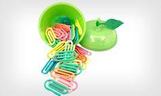 Clips coloridosOs clips coloridos vinham dentro de uma maçã acrílica superfofa