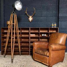 Bel ensemble harmonieux, fauteuil club cuir, bois et lumière