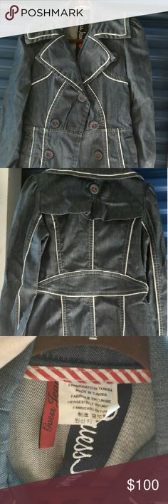 Guess Jean jacket Denim jeans jacket, with white line detail. Guess Jackets & Coats Jean Jackets