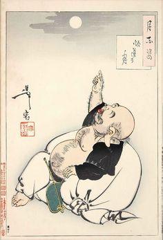 Yoshitoshi Tsukioka.『悟道の月』(『月百姿』シリーズ、作・月岡芳年)