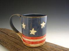 Thrown Pottery Mug - Americana Coffee Mug - Old Glory - 4th of July -  by DirtKicker Pottery