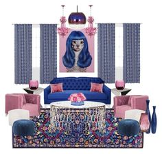 """""""Navy and Pink Living Room"""" by hollybgdesigns ❤ liked on Polyvore featuring interior, interiors, interior design, home, home decor, interior decorating, Driade, Waverly, Kristin Drohan Collection and Safavieh"""