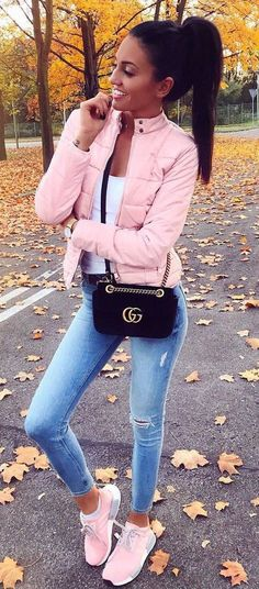 40 Cool Outfit Ideas for Girls. Pink SneakersJeans ... 9ffc85396