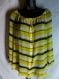Ann Taylor  XL Casual Sheer Multi Color Polyester Preowned Blouse #AnnTaylor #Blouse #Casual