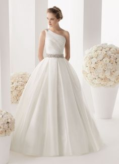 Luxurious Satin Ballgown One Shoulder Beaded And Wrinkles Chaple Train Wedding Dress
