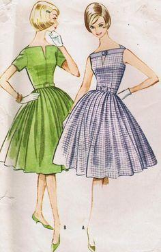 1960s Fit & Flare Princess Seam Slit Bateau Keyhole Neckline by kinseysue