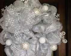 SALE!! Deco Mesh Wreath for Christmas, White and Silver