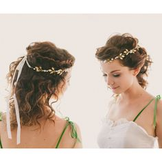 Gold leaf pearl headpiece, Bridal hair crown, Golden leaf headpiece,... ❤ liked on Polyvore featuring accessories, hair accessories, gold bridal hair accessories, golden crown, gold hair accessories, bridal floral crown and floral crown