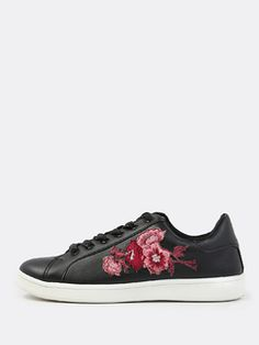 Online shopping for Faux Leather Embroidered Sneakers BLACK from a great selection of women's fashion clothing & more at MakeMeChic.COM.