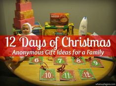12 Days of Christmas Secret Santa Gift Ideas Anonymous Gift giving for the 12 Days of Christmas! 12 Days of Christmas Secret Santa gift ideas. Great way to create some Holiday magic for a family in need! Christmas Service, Diy Christmas Gifts, Holiday Fun, Holiday Gifts, Christmas Holidays, Christmas Ideas, Holiday Ideas, Xmas, Christmas Countdown