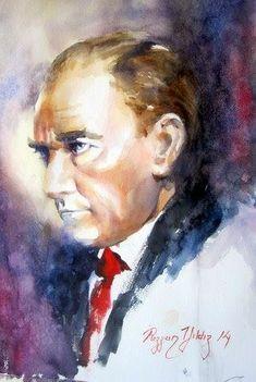 Rezzan Y ld z II Atat rk Serisi Portre Rezzan Y ld z 1952 Sar kam do umlu aslen Ni de liyim Babam n memuriy Oil Painting Pictures, Pictures To Paint, Terracotta Plant Pots, Pour Painting, Great Leaders, Revolutionaries, Most Beautiful Pictures, Watercolor Paintings, 1