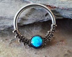 Septum Ring Purple Fire Opal Hoop Cartilage by MidnightsMojo