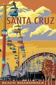 Santa Cruz, California - Beach Boardwalk (Art Prints available in multiple sizes) Santa Cruz Boardwalk, Beach Boardwalk, Boardwalk Theme, Santa Cruz California, California Dreamin', California Vacation, Central California, Vintage California, Northern California