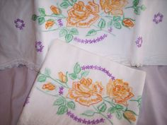 Vintage Pair of Embroidered Pillowcases by ThreadsInTapestry, $15.00