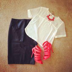 Found a outfit for the fabulous #jimmychoos shirt #jealoustomato skirt #zara #zarabasic necklace #jcrew #cute #chic #love #leatherskirt #croptop #properpinkfashion #follow