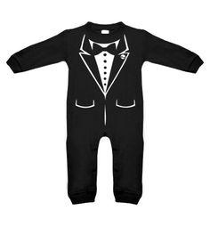 Tux Skull Long Sleeve Romper - My Baby Rocks www.punkbabyclothes.net #mybabyrocks #punkbabyclothes tuxedo romper onesie baby clothes