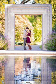 Dallas Arboretum romantic engagement session window reflection MnMfoto