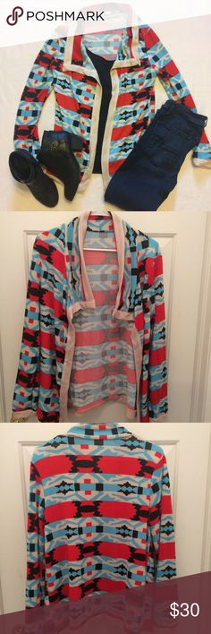 Aztec cardigan sweater Beautiful aztec open front wrap cardigan. Blue, red, black, and white. No trades. Price is firm. Mason Belle Boutique Sweaters Cardigans