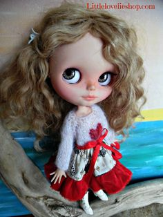 BLYTHE DOLL Dress - OOAK - Queen of Hearts white mohair jumper with Alice in Wonderland skirt & velvet frill by CooeeChris on Etsy