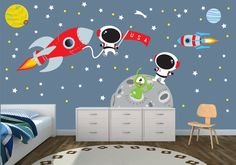 Amazon.com : Space Wall Decal with Astronaut, rocket, and moon for Baby Nursery or Boy's Room : Nursery Wall Decor : Baby