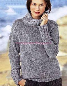 Удобный и простой вязаный свитер. Свитер связан спицами. связать такой свитерок может даже начинающая вязальщица. Описание и выкройка