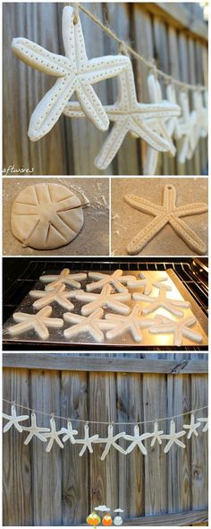 Starfish: make from salt clay dough Could add silver or gold paint in the holes. Edge with turquoise